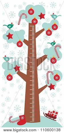 Big tree with white snow on the branches, birds and red christmas decorations. Candy, balls, stars,