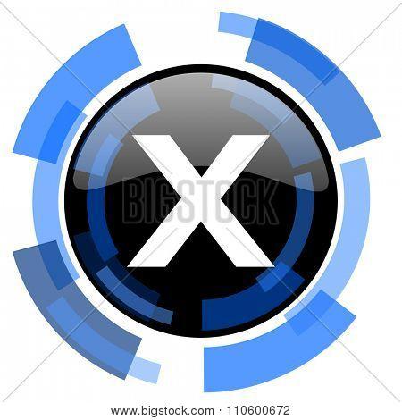 cancel black blue glossy web icon