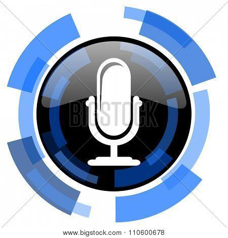 microphone black blue glossy web icon