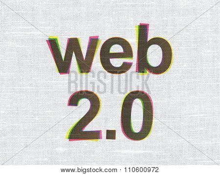 Web development concept: Web 2.0 on fabric texture background