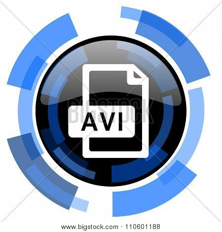 avi file black blue glossy web icon