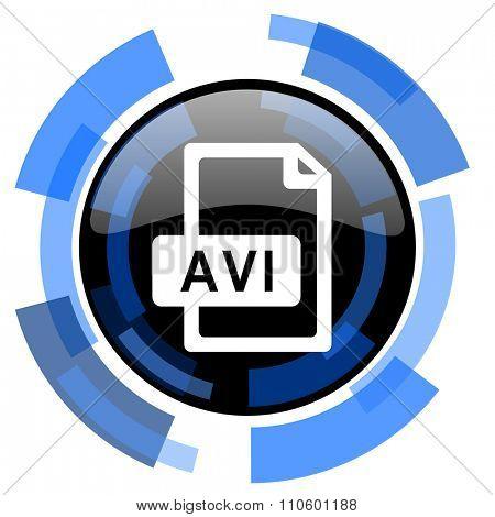 avi file black blue glossy web icon