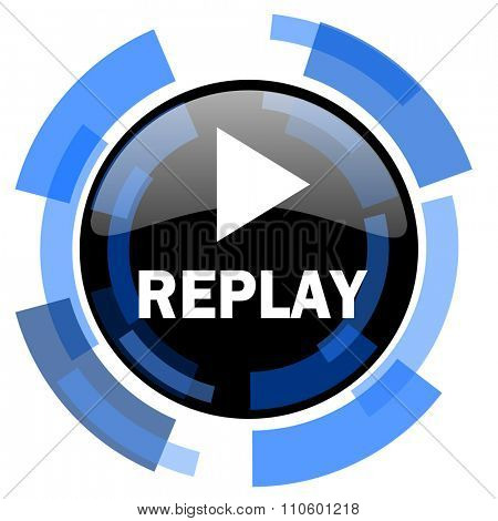 replay black blue glossy web icon