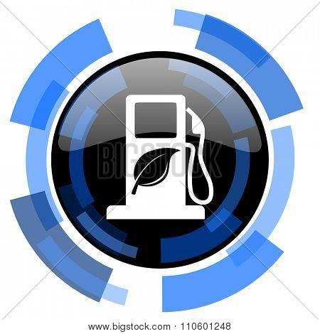 biofuel black blue glossy web icon