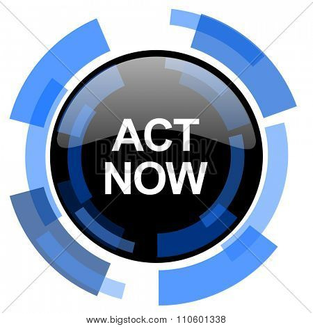 act now black blue glossy web icon