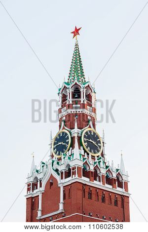 The Spasskaya (saviour) Tower Of The Moscow Kremlin With Famous Clock - Kremlin Chimes