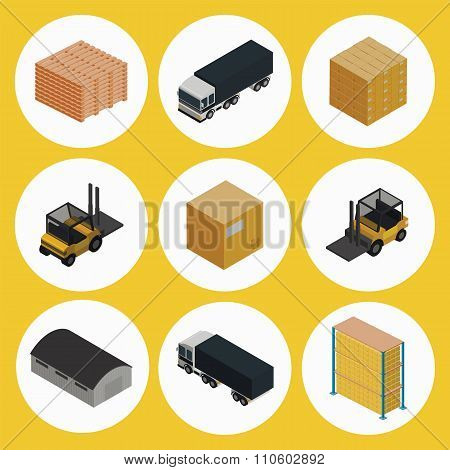 Warehouse icon set, warehouse symbols. Forklift icon. Warehouse isometric icon, warehouse building icon, warehouse shelves icon, cargo icon, truck icon. Nine different warehouse icon.