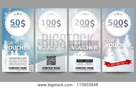 Set of modern gift voucher templates. Merry Christmas and happy New Year vector background