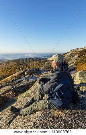 Man Enjoying View on Mountain Hike
