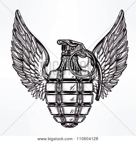 Hand drawn design of a winged manual grenade.