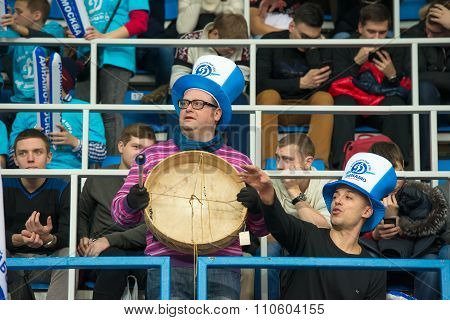 MOSCOW RUSSIA - DECEMBER 2: Fans of Dynamo Moscow during the game on women's Rissian volleyball Championship game Dynamo (MSC) vs Dynamo (KZN) at the Luzhniki stadium in Moscow Russia. Kazan won in serie 3: 2