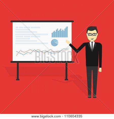 Businessman showing market share graph