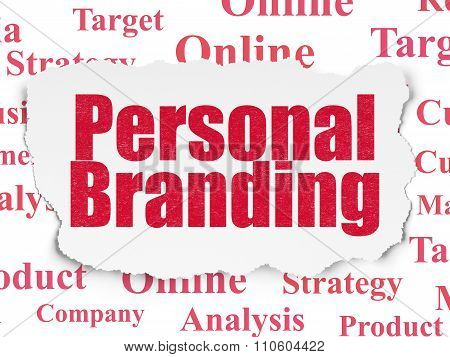 Marketing concept: Personal Branding on Torn Paper background