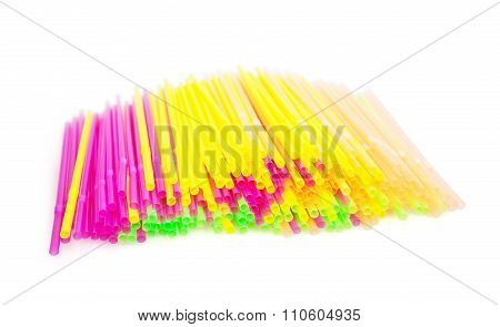 Isolated Colorful Drinking Straws Background