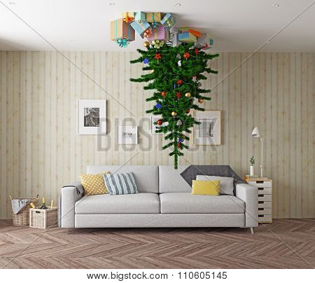 room with a Christmas tree on the ceiling. 3d concept