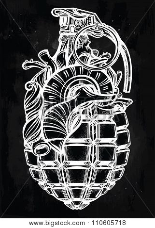 Hand drawn design of Heart Grenade.
