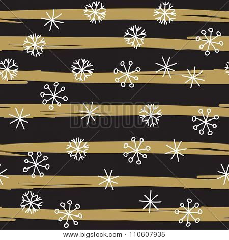 Stylish seamless snowflake pattern. Vector background with hand drawn white snowflakes on black and gold striped background. Retro style design for paper, scrapbooking, textile design