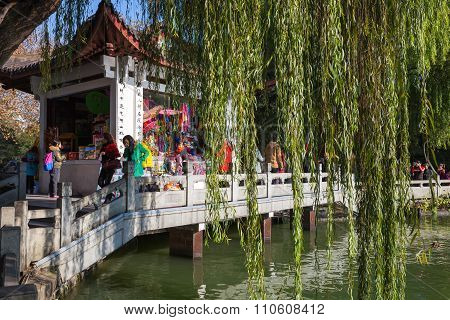 Wooden Chinese Gazebo As A Souvenir Shop