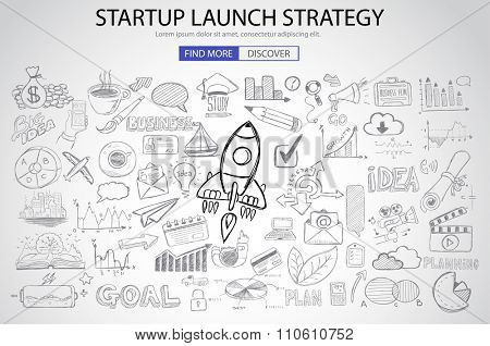 Strartup Launch Strategy Concept with Doodle design style :finding solution, monetization strategy, increase funding. Modern style illustration for web banners, brochure and flyers.