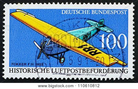 Postage Stamp Germany 1991 Fokker Fiii