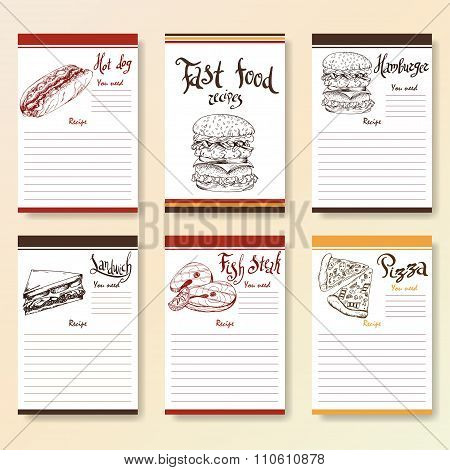Recipe Blanks Collection. Fast Food Objects With Hand Dawn Lettering. Vector Food Illustration