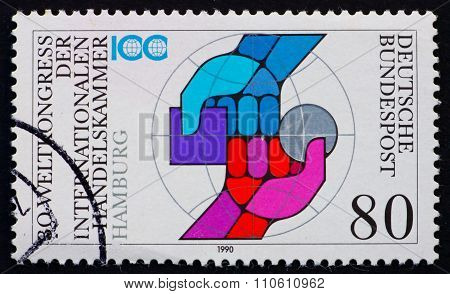 Postage Stamp Germany 1990 Two Arms