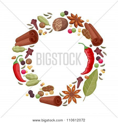 Spices and herbs icons round frame illustration.