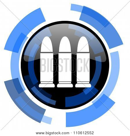 ammunition black blue glossy web icon