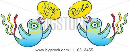 Beautiful blue birds promoting Xmas joy and peace