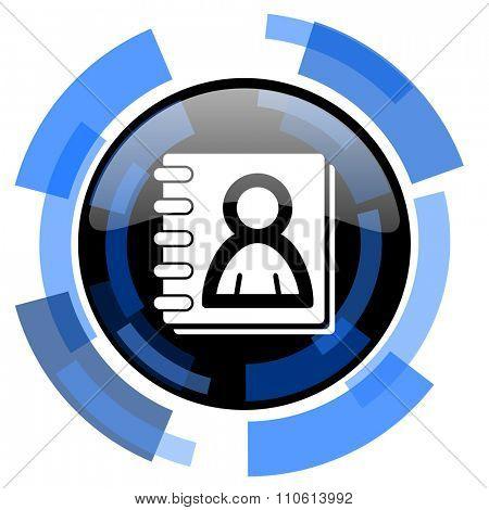 address book black blue glossy web icon