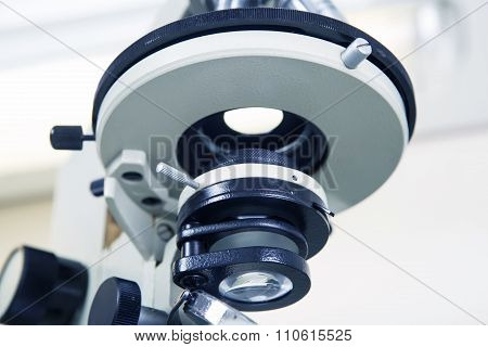 Scientific Microscope Lens Close-up.