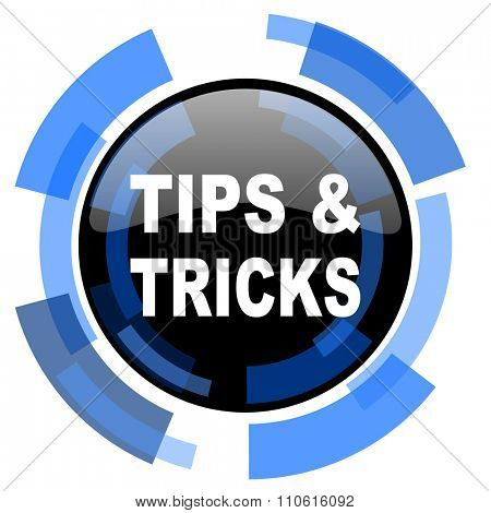 tips tricks black blue glossy web icon