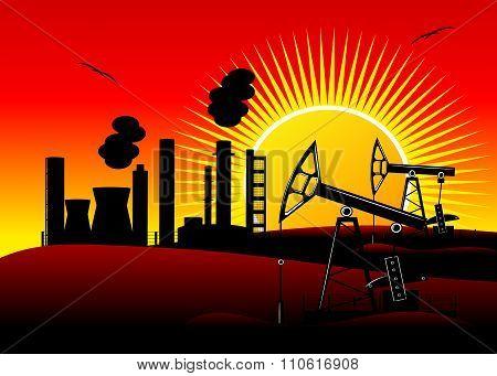 industrial landscape, oil production.