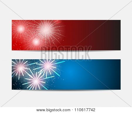 Glossy Fireworks Website Header and Banner Set Background Vector