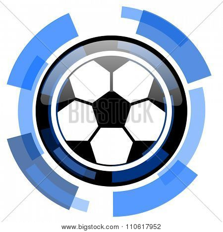soccer black blue glossy web icon