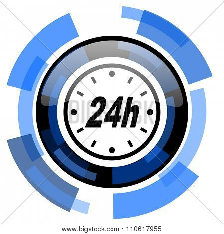 24h black blue glossy web icon
