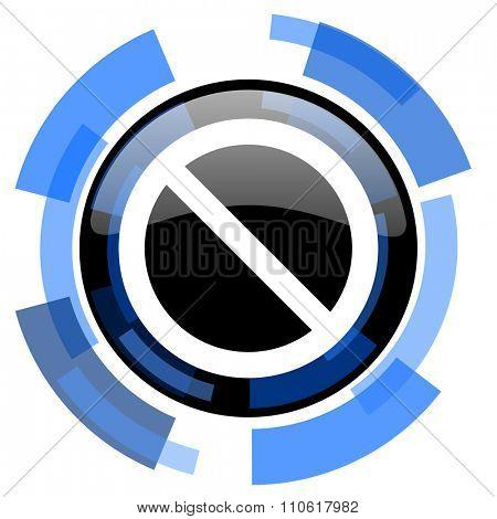 access denied black blue glossy web icon