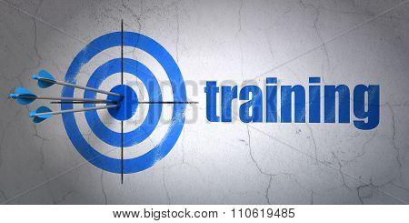 Learning concept: target and Training on wall background