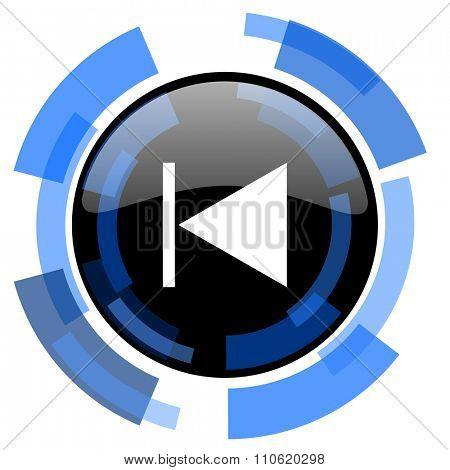 prev black blue glossy web icon