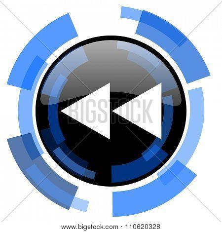 rewind black blue glossy web icon