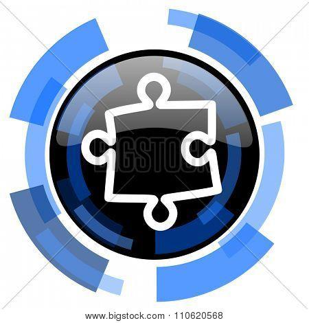 puzzle black blue glossy web icon
