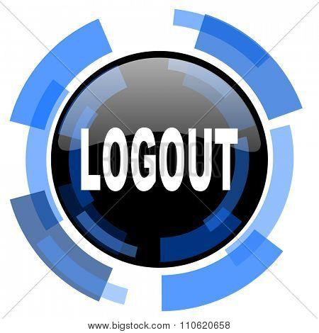 logout black blue glossy web icon