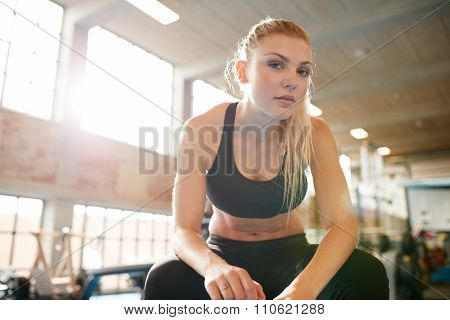 Young Woman Resting After Workout