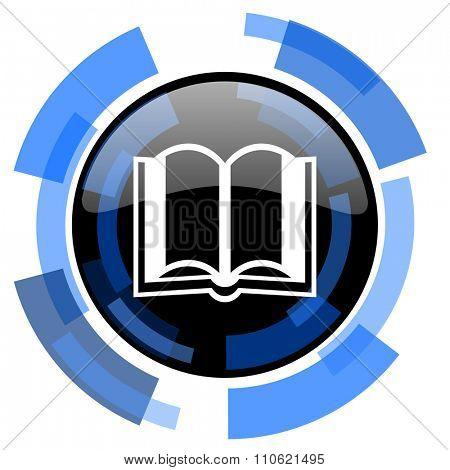 book black blue glossy web icon