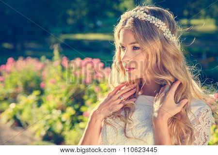 Charming Bride on Nature Background
