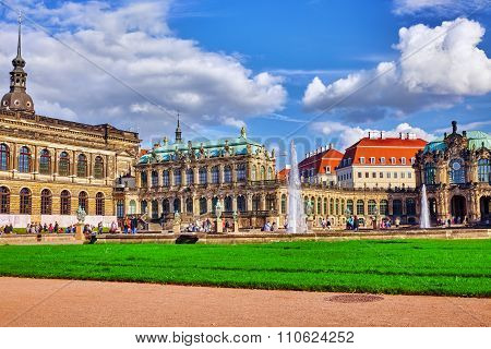 Dresden,germany-september 08,2015:  People In Court Zwinger Palace (der Dresdner Zwinger)  Art Galle