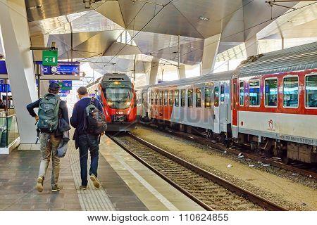 Dresden,germany-september 10,2015: Intercity Train At The Railways Station Of Prague. Rail Transport