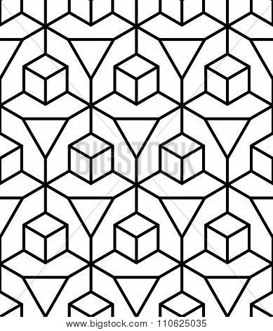 Vector modern seamless geometry pattern illusion black and white abstract