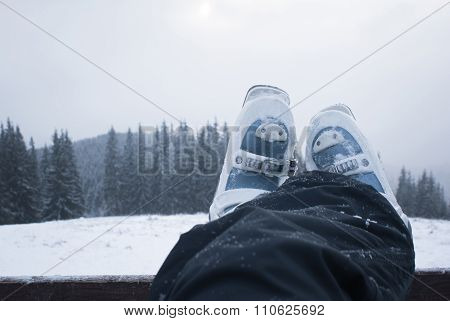 Legs Skier In Ski Boots