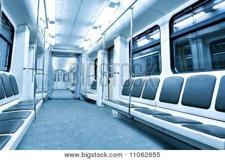 Modern Illuminated Metro Station With Train Motion